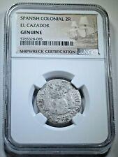 NGC Genuine 1767 El Cazador Shipwreck Silver 2 Reales Antique 1700's Pirate Coin