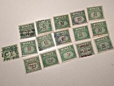Us Internal Revenue Wine Tax Stamps Lot Of 16
