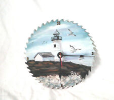 Unique Hand Painted CIRCULAR SAW BLADE CLOCK--Lighthouse--Signed by Artist