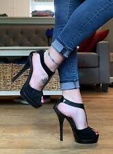 Fendi Black Suede/Patent Combo T-Strap Heels 38.5