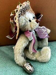 Vtg Annette Funicello Bear Jessica 100% Mohair Jointed Gray White Paws Straw Hat