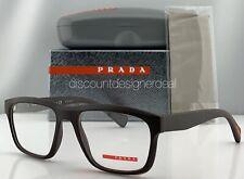 Prada Sport Square Eyeglasses VPS 07G Brown Rubberized Frame UB0-1O1 55mm NEW
