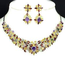 Necklace & Earrings NATURAL AMETHYST,GARNET,PERIDOT,CITRINE 925 SOLID SILVER