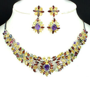 Necklace & Earrings NATURAL AMETHYST,GARNET,PERIDOT,CITRINE 925 SOLID SILVER