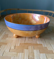 Vintage Orange/Blue Luster Iridescent Footed Bowl, Candy Dish, Whipped Cream