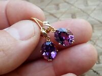 Vtg Fine Jewelry Ladies 14K Yellow Gold Purple Amethyst Gem Drop Dangle Earrings
