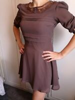 Size 12 brown lace short skater style dress, 3/4 length sleeves,sheer, pretty