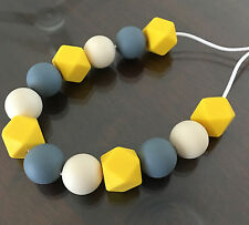 Teething Necklace Nursery Sensory Baby Showers Sillicone Beads Yellow Grey Cream