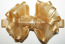 Gold Bow Headband Organza Satin Ribbon Infant Baby Flower Girl Accessories by Me