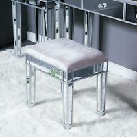 Makeup Dressing Stool Mirrored Vanity Cushioned Chair Padded Piano Seat Silver