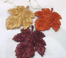 Fall Thanksgiving (3) Glitter Maple Leaf Leaves Ornaments Decoration Decor
