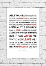 Kodaline - All I Want - Song Lyric Art Poster - A4 Size