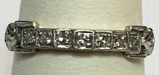 VINTAGE ANTIQUE PLATINUM MILGRAIN BUCKLE RING DIAMOND BAND SIZE 6.75
