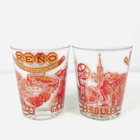 Vintage Culver Glasses Barware Reno Carson City Lowball Red Gold Lot of 2