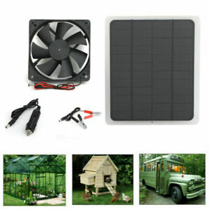 Solar Powered USB Fan Air Vent Ventilator For Greenhouse Pet/Dog Chicken House L