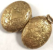 Antique Victorian 16k Solid Yellow Gold Floral Engraved Locket Pendant No Mono!