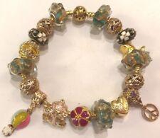 ❤️European CHARM BEADS BRACELET ~ GOLD Plated Beads & Chain ~ FANCY DESIGN  #3❤️