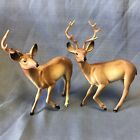 Vintage Lot Of 2 Celluloid Plastic Hollow Christmas Reindeer Shiny Brite