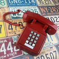Vintage 1980 ITT Model 2300 Red Desk Tele Phone Push Button Touch Tone USA