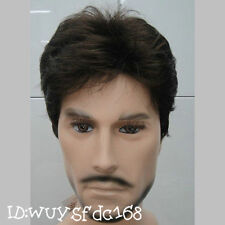 Dark Brown Short Curly Menfolk Man Men Male Daily Wear Hair Wig NO:031