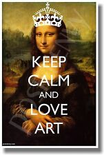 Keep Calm and Love Art - With Crown - New Classroom Motivational Poster