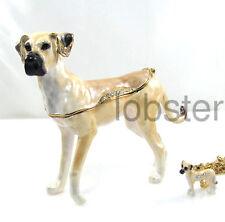 GREAT DANE DOG FINE ENAMEL CRYSTAL TRINKET BOX includes pendant necklace