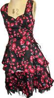 Black Ribbon Dress Rosebud Lacing  XS S 8 10 Vintage New UK Seller