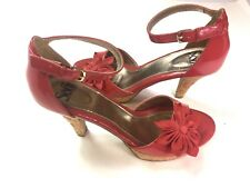 Sofft Womens 8.5M Ankle Strap Heels Sandals Pumps Red Patent Wedding Party Cute