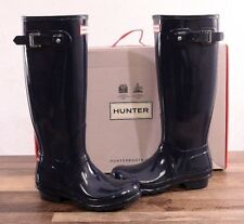 Hunter Women's Navy Gloss Rubber Rain Boots Original Tall 6 MED WFT1000RGL NEW