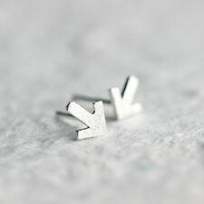 Matte Mini Arrow Ear Studs Earrings Women's Silver Plated Jewellry Gifts