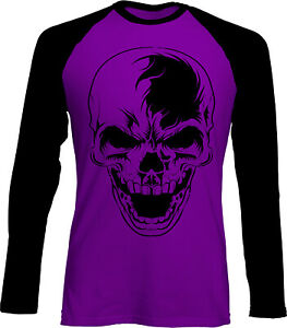 Skull Purple Black Baseball Unisex T-Shirt S - 3XL goth biker rock punk