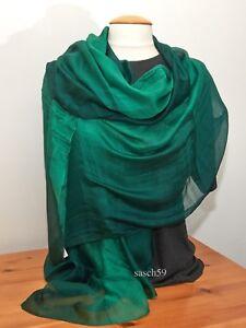 Schal Seide grün smaragd dip dye Seidenschal Tuch Stola Schultertuch Pashmina