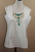 NWT Woman Completely Me by Liz Lange Embellished Sleeveless White Top LG (466)