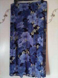EVANS ESSENCE BLUE GREEN FLORAL PULL ON  SUMMER MAXI SKIRT SIZE 20