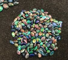 25 Ct 100 Pcs Natural Fire Play Black Ethiopian Welo faceted Opal Size 4X6 MM