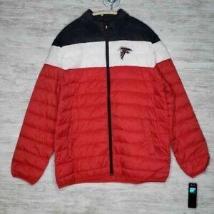 G-III Atlanta Falcons Puffer Coat Mens Size L Red Black Lightweight Jacket