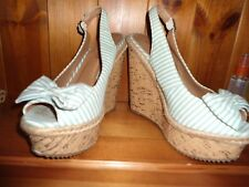 Ladies green and white canvas wedge sandals  size 4 (37)