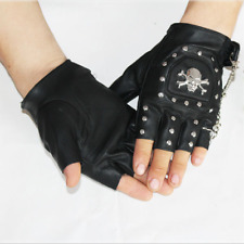 Men Women Black Punk Gothic Fingerless Faux Leather Skull Motorcycle Biker Glove