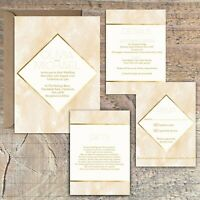 Personalised GOLD & PEACH MARBLE EFFECT wedding invitations packs of 10