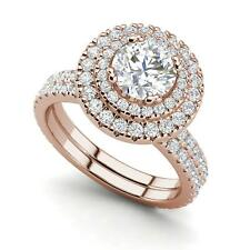 Cut Diamond Engagement Ring Rose Gold Double Halo 3.15 Carat Vs2/F Round