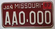 Missouri 1967 SAMPLE License Plate HIGH QUALITY # AA0-000