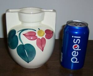 Puritan Slip Ware Pottery - Red Flower & Green Leaves - Pot / Vase - Unmarked #3