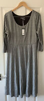 LAURA ASHLEY BLACK PRINT JERSEY MIDI T-SHIRT DRESS UK 14 NEW
