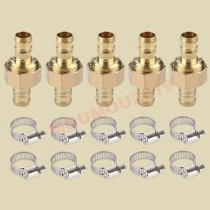 "5 Sets Brass 5/8"" Garden Hose Mender End Repair Male/Female Connectors W/ Clamp"