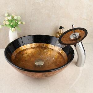 Round Glass Wash Basin Bowl Vessel Sink Waterfall Mixer Facuet Waste Drain Set