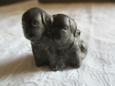 Antique chiens chiots okimono japon en bronze