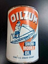 Early Original Oilzum Snowmobile Oil Quart Can - Full!