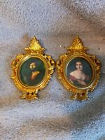 """2-Ornate gold gilt miniature small 4.5"""" PICTURE/FRAMES VICTORIAN PEOPLE-1950's"""