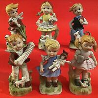 """PORCELAIN BISQUE CHILDREN FIGURINES SET OF 6 BOYS AND GIRLS 5"""" ANIMALS PETS"""