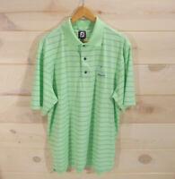 FootJoy Men's L Golf Polo Shirt Mint Green Blue Stripes Embroidered Pokegama